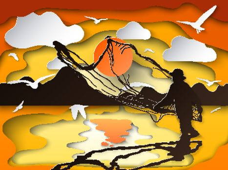 Silhouette of man catching the fish in twilight on paper cutting art.