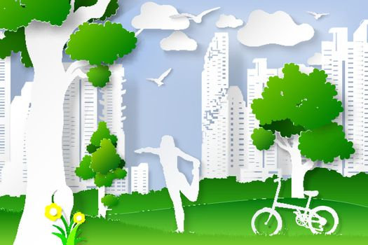 World environment day with lady Yoga posture art digital craft style.