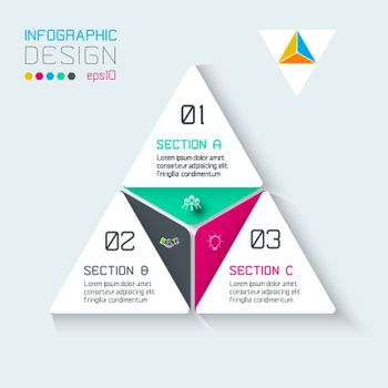 Triangle infographics on vector graphic art.