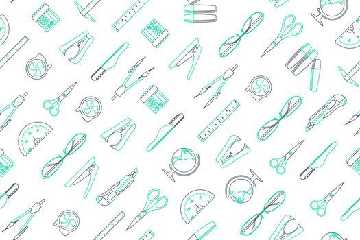 Clip art of office elements arrange on seamless background.