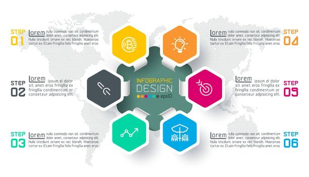 Business hexagon labels shape infographic circles bar.