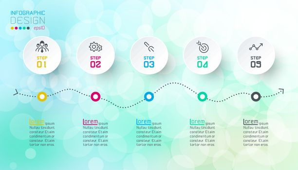 Infographics design on bokeh abstract background.