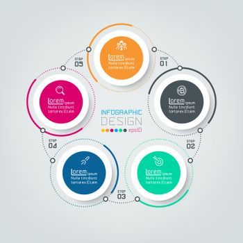 Five connecting circle infographics.