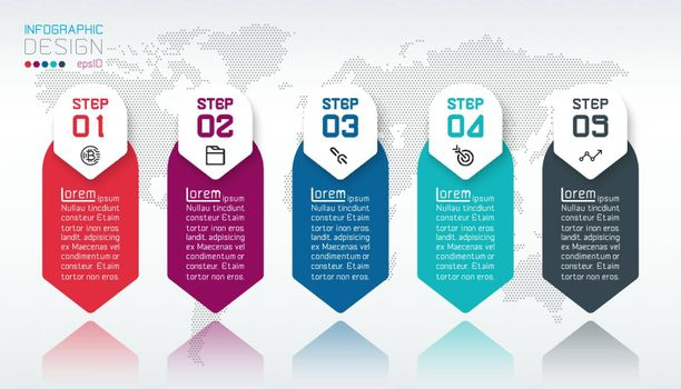 Business infographic with 5 steps.