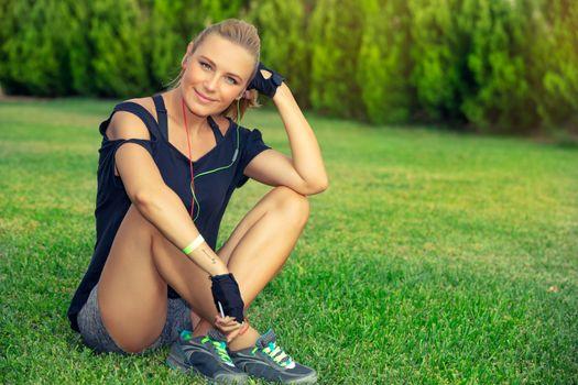 Female exercising outdoors