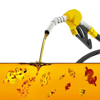 3d render on white background, nozzle pumping gasoline in a tank, of fuel nozzle pouring gasoline over white background, nozzle pumping a gasoline fuel liquid in a tank of oil industry,  dollar symbol