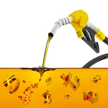 3d render on white background, nozzle pumping gasoline in a tank, of fuel nozzle pouring gasoline over white background, nozzle pumping a gasoline fuel liquid in a tank of oil industry,  turkish lira symbol