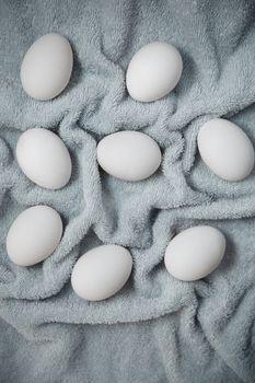 Chicken eggs on a fiber