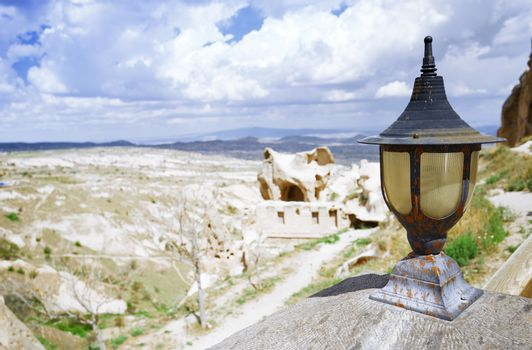 Street lamp at observation platform in Cappadocia, Turkey