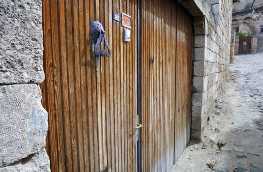 Wooden door of ancient buildings in old town, Turkey