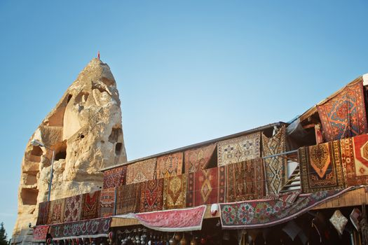 Outdoors shop with carpets for sale. Cappadocia, Turkey