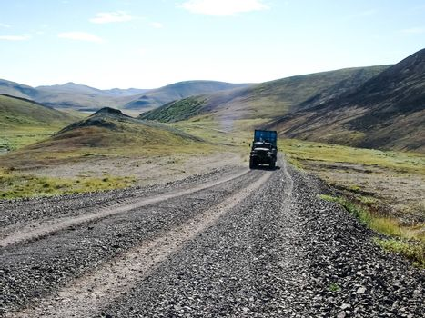 Roads Chukotka, Russia. Dirt roads and transport for the northern regions.