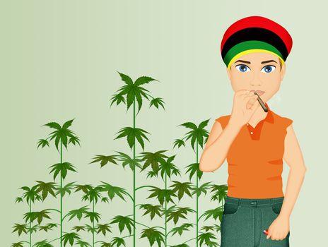 man grows cannabis