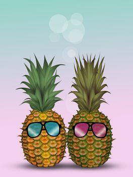 illustration of pineapple in summer