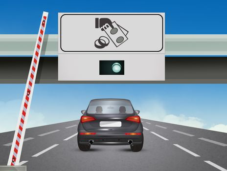 car at the motorway exit