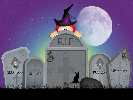 illustration of Halloween cemetery
