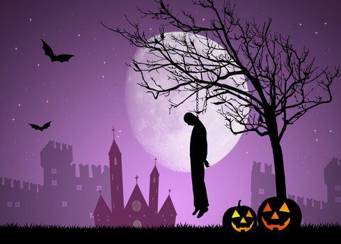illustration of hanged man on Halloween