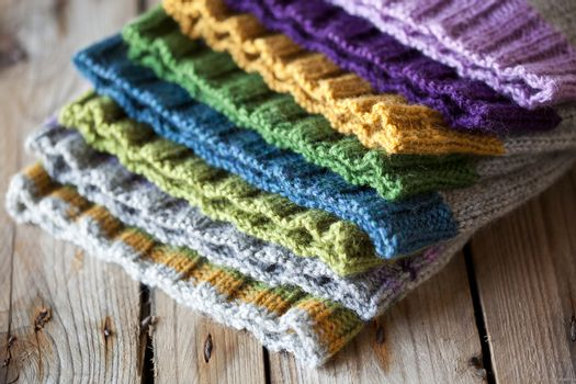 Multicolor knitted hats stack
