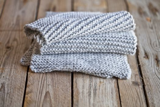 knitted light grey scarf