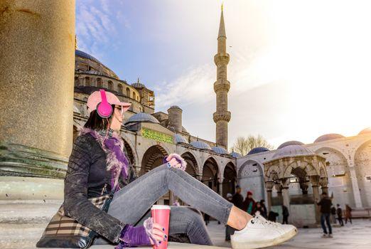 Beautiful woman travels in Istanbul,Turkey