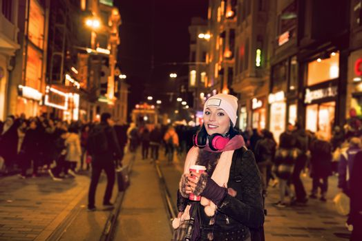 Beautiful woman in beanie travels in Istanbul