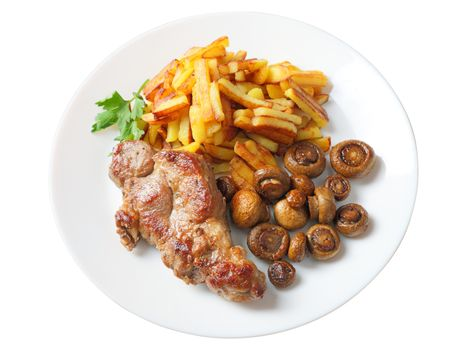 steak with fried potatoes and mushrooms isolated