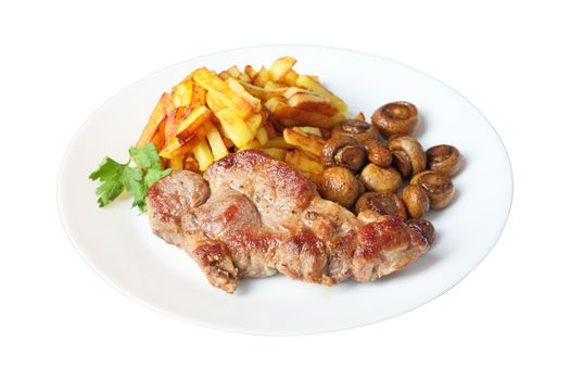 steak with fried potatoes and mushrooms isolated side view