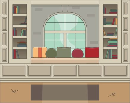 Interior living room modern cozy and luxury style with furniture in house.vector and illustration - Vektorgrafik