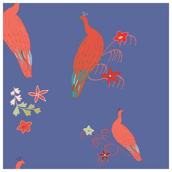 Bright unreal peacocks illustration endless texture pattern.
