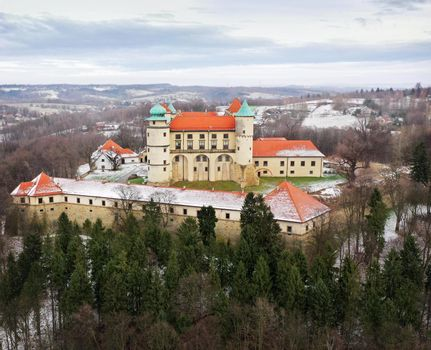View from the height of the castle in Nowy Wisnicz in winter, Po