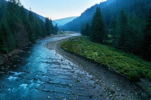 Picturesque mountain river close-up. Carpathian mountains