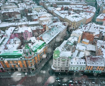 Aerial view of the historical center of Lviv in winter, UNESCO's