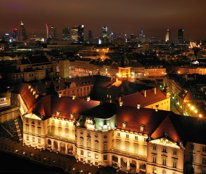 Aerial view of the royal castle in the old town at night, Warsaw