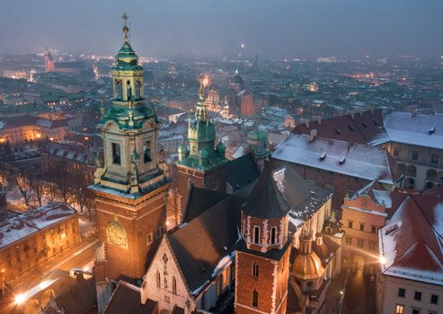 Aerial view of the historical center of Krakow, church, Wawel Ro