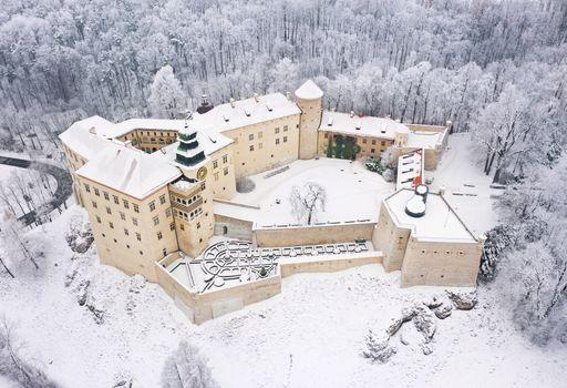 Aerial view oh historic renaissance castle Pieskowa Skala near K
