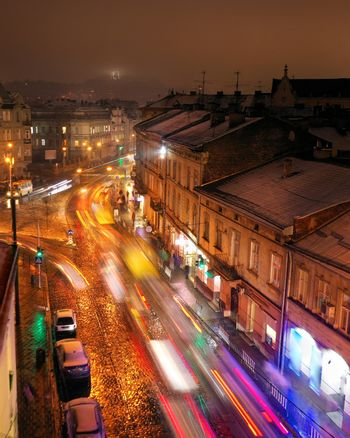 Aerial view of one of the central streets of Lviv in evening. Bl