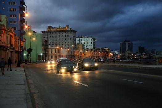 Traffic at Malecon, Havana, Cuba