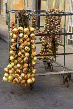 Selling onions on the street in Old Havana, Cuba