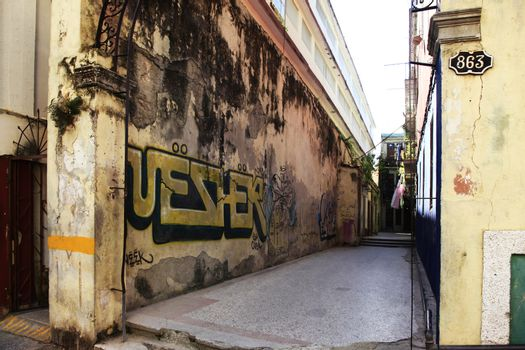 Graffiti on the wall of a building in Havana