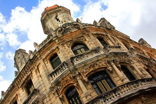 Facade of a beautiful building in Old Havana