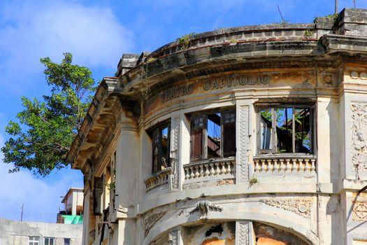 Deteriorated building Teatro Capitolio in Old Havana
