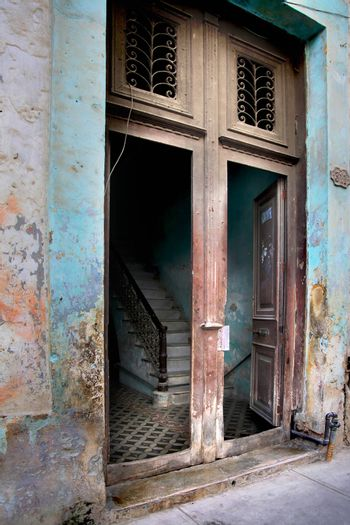 Staircase in a house in Old Havana, Cuba
