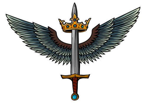 vector illustration sword with wings and king