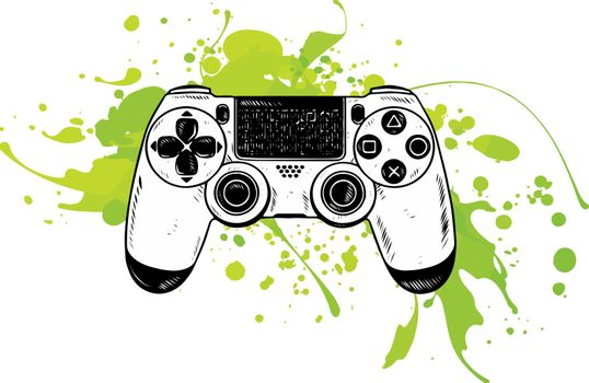Gamepad for game console.The joystick for the console.The controller in the vector.Joystick vector illustration.