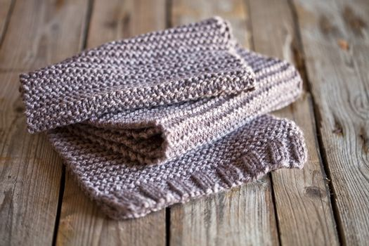 Brown knitted wooden scarf