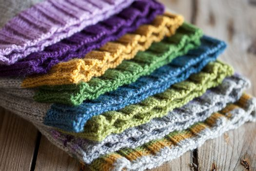 Multicolored knitted hats