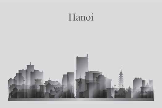 Hanoi city skyline silhouette in grayscale