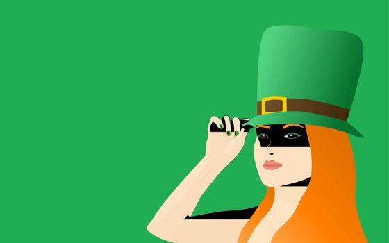Irish Girl Celebrating Saint Patrick's Day