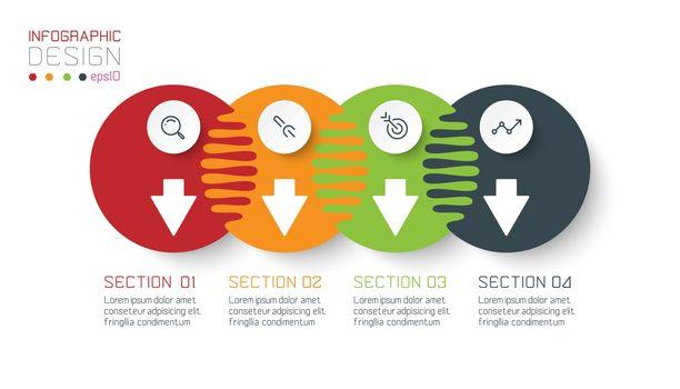 Four harmonious circle infographics.