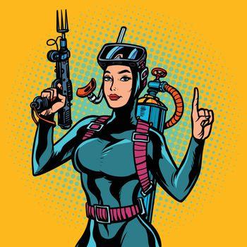 Aqua woman diver spearfishing gun